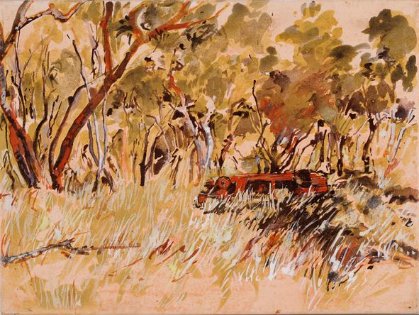 Muludja road, Butchers's car 2009  pigment, ochre and acrylic on linen 30 x 40 cm web version
