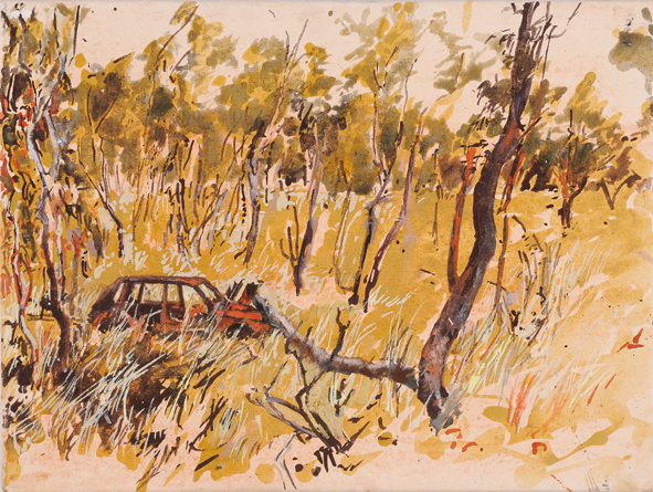 Muludja road, car 1 2009 pigment, ochre and acrylic on arches paper 30 x 40 cm web version