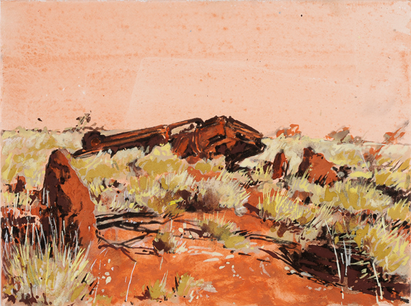 Tunnel Creek Road, car 3 2009 pigment, ochre and acrylic on arches paper 30 x 40 cm (2) web version