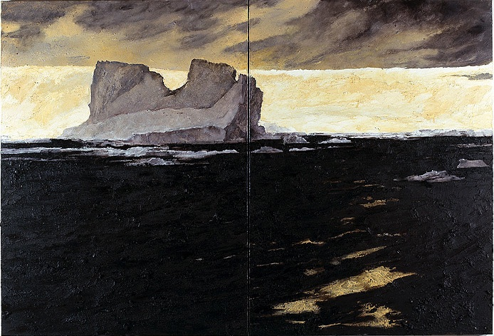 Wanderers in the desert of the real; Iceberg, 2008_Ochre, pigment, and oil on linen diptych, 180x270cm