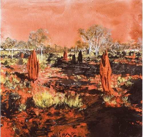 Burnt patch at Handover Camp 2013_pigment and oil on linen 180cmx180cm