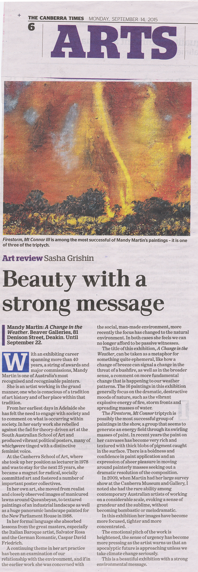 Art Review - The Canberra Times, Monday 14th September