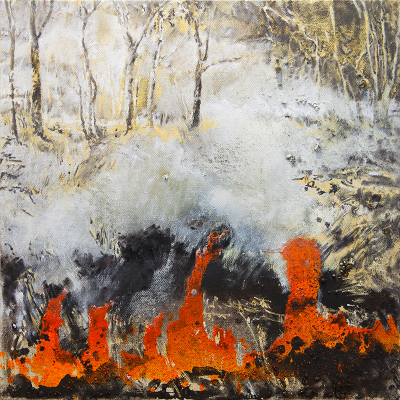 Mandy Martin    Fire Work #2   2017, oil on linen, 100cm x 100cm. Courtesy of the Artist and Australian Galleries, Sydney and Melbourne. Photographer: Alexander Boynes