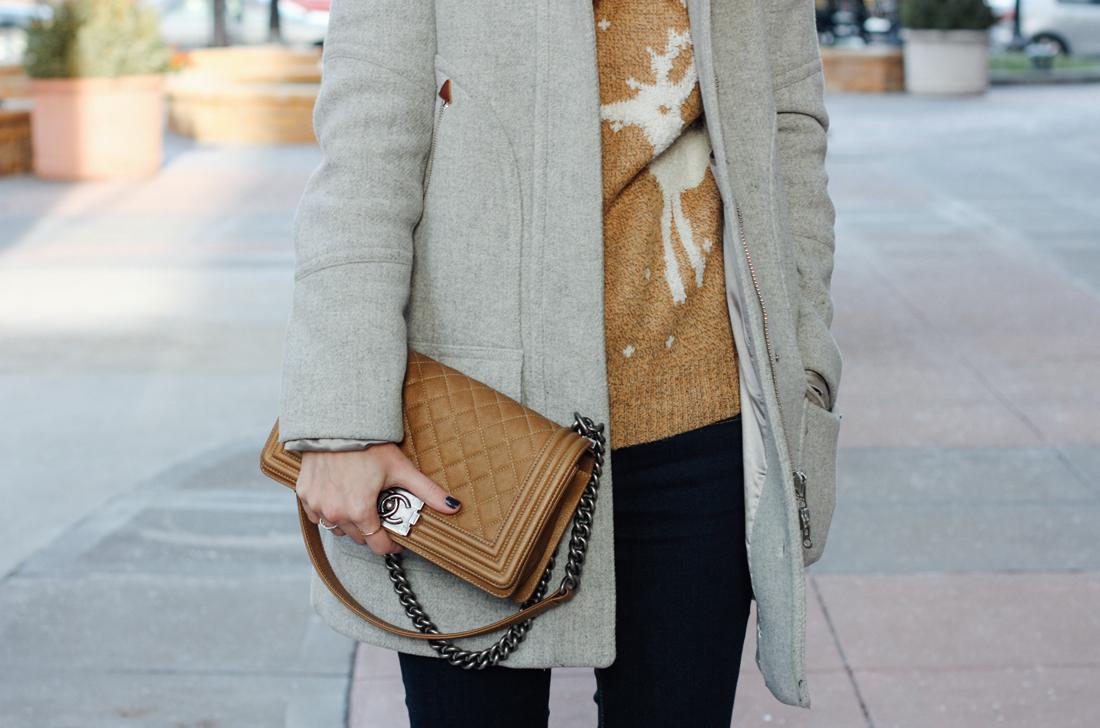 Molly Bracken Christmas sweater, J.Crew chateau parka in grey, camel Chanel boy bag via truelane.co.png