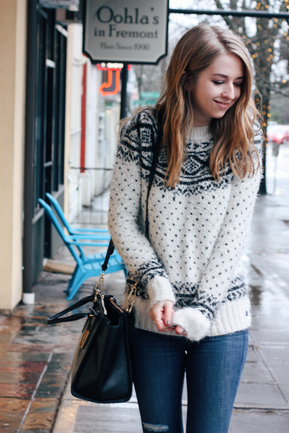 truelane in Abercrombie sweater and Coach Crosby handbag.png