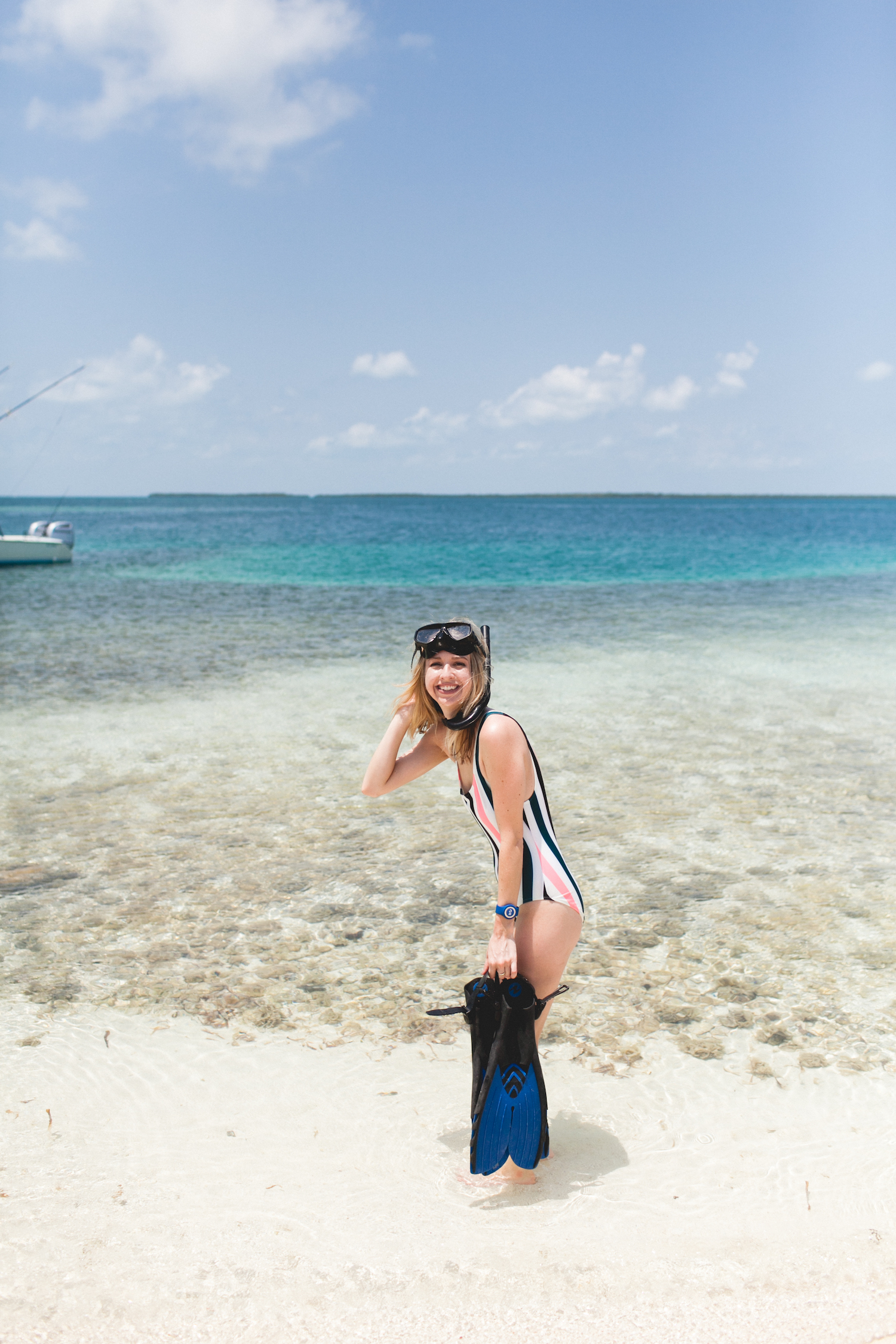 Princess Cruises, OceanMedallion, Caribbean cruise, travel, travel blog, style blogger, summer vacation, travel tips, cruising, Caribbean Princess, dream trip, snorkeling, Belize, white sandy beach, clear water, beach day, solid and striped, one-piece swimsuit