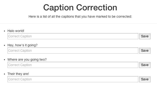Caption correction part of the Web UI.
