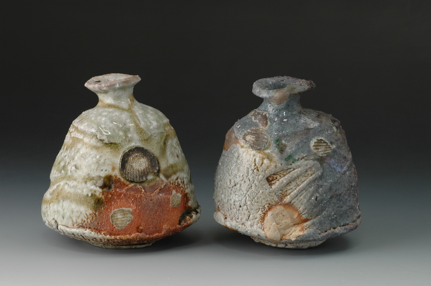 Natural ash tokkuri (Sake bottles)