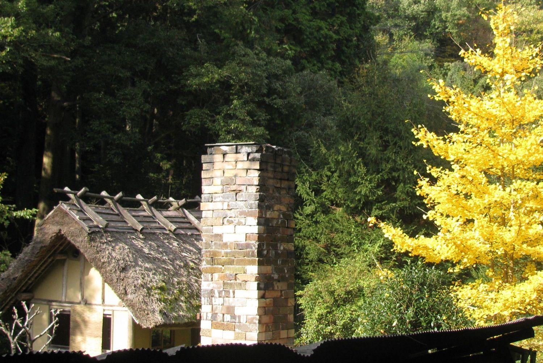 Chimney, ginko, teahouse