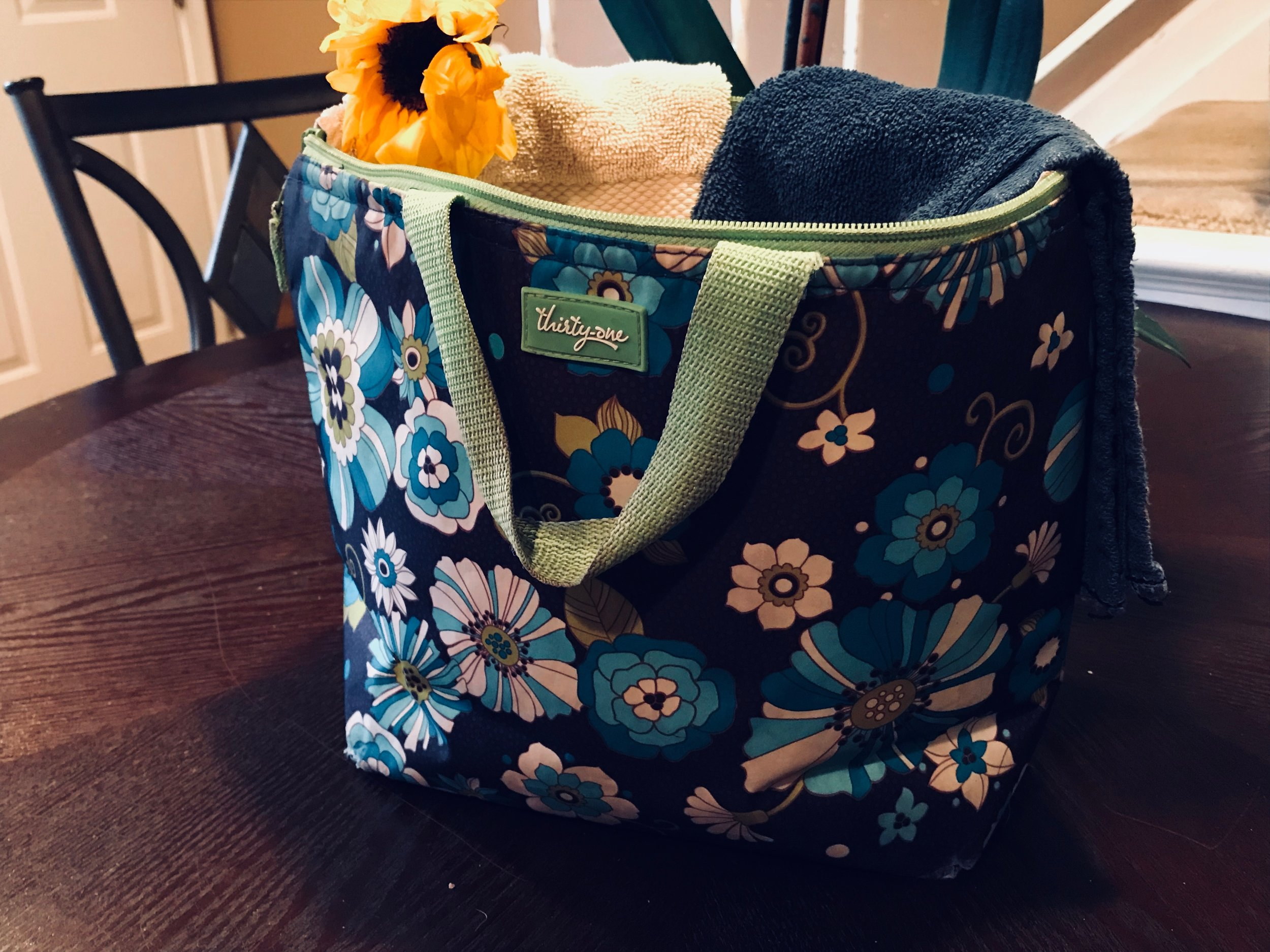 Fill an insulated tote bag with ice and wet cloths. Use the icy cold rags to cool off during summer outings.