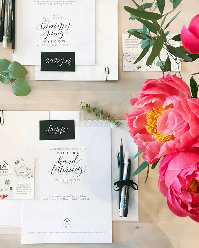 Spots still open for our brush lettering workshop with Olivia from @atiliay this Saturday, June 16th from 12:00-2:00, $55/spot! 💛 Check out our site for details or visit atiliay.com directly :) Have a wonderful day friends!