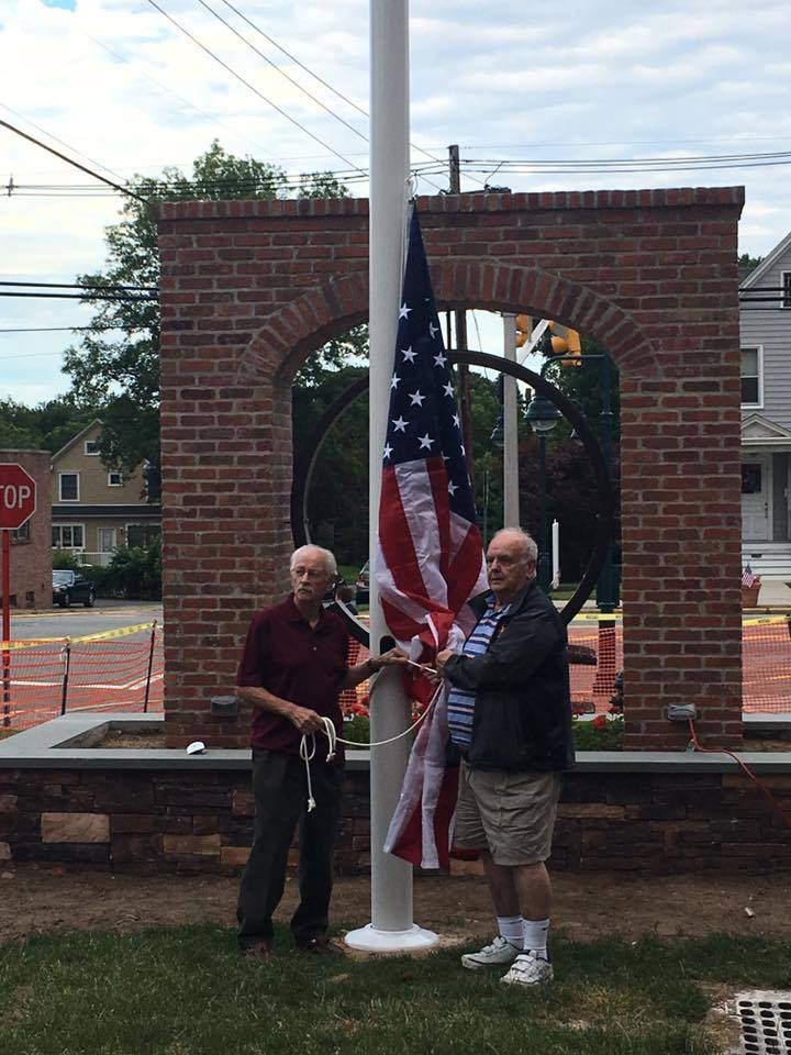 It was beautiful evening for the raising of the flag for the first time at the Oradell Fire Department's new memorial. Kudos to all who have worked so hard to make it a reality and can't wait to see the finishing touches. (Photo courtesy of OFD)