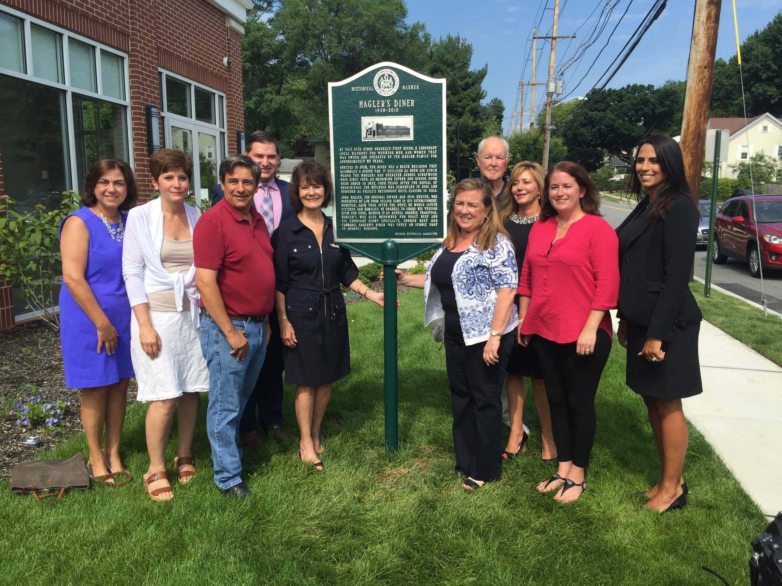 Hagler's Diner Dedication. July 30, 2016. Mayor Dianne Camelo Didio, Councilwoman Tracy Schoenberg, Carol Males, Sam Tripsas, Joanne Young, George Carter, and others attended this event to celebrate the history of this historic landmark that stood for 87 years.