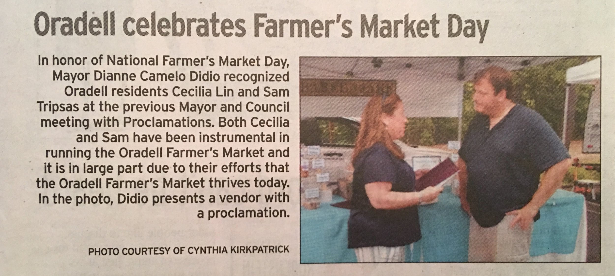 Congrats to Oradell residents Sam Tripsas and Cecillia Lin for volunteering their time and running the Oradell Farmers Market in town. Mayor Dianne Didio honored them with a proclamation in honor of their service. Pictured: Mayor Dianne Didio and a Farmers Market vendor