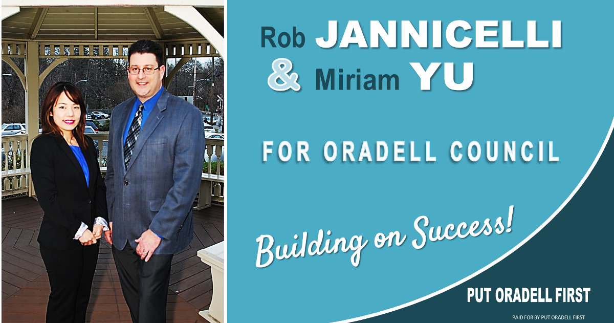 Rob & Miriam are both Oradell natives who attended OPS and River Dell Regional. Since returning to town, they have been active in the community with various clubs, committees and boards. We are so pleased to have Rob & Miriam as our candidates in 2017!!!!