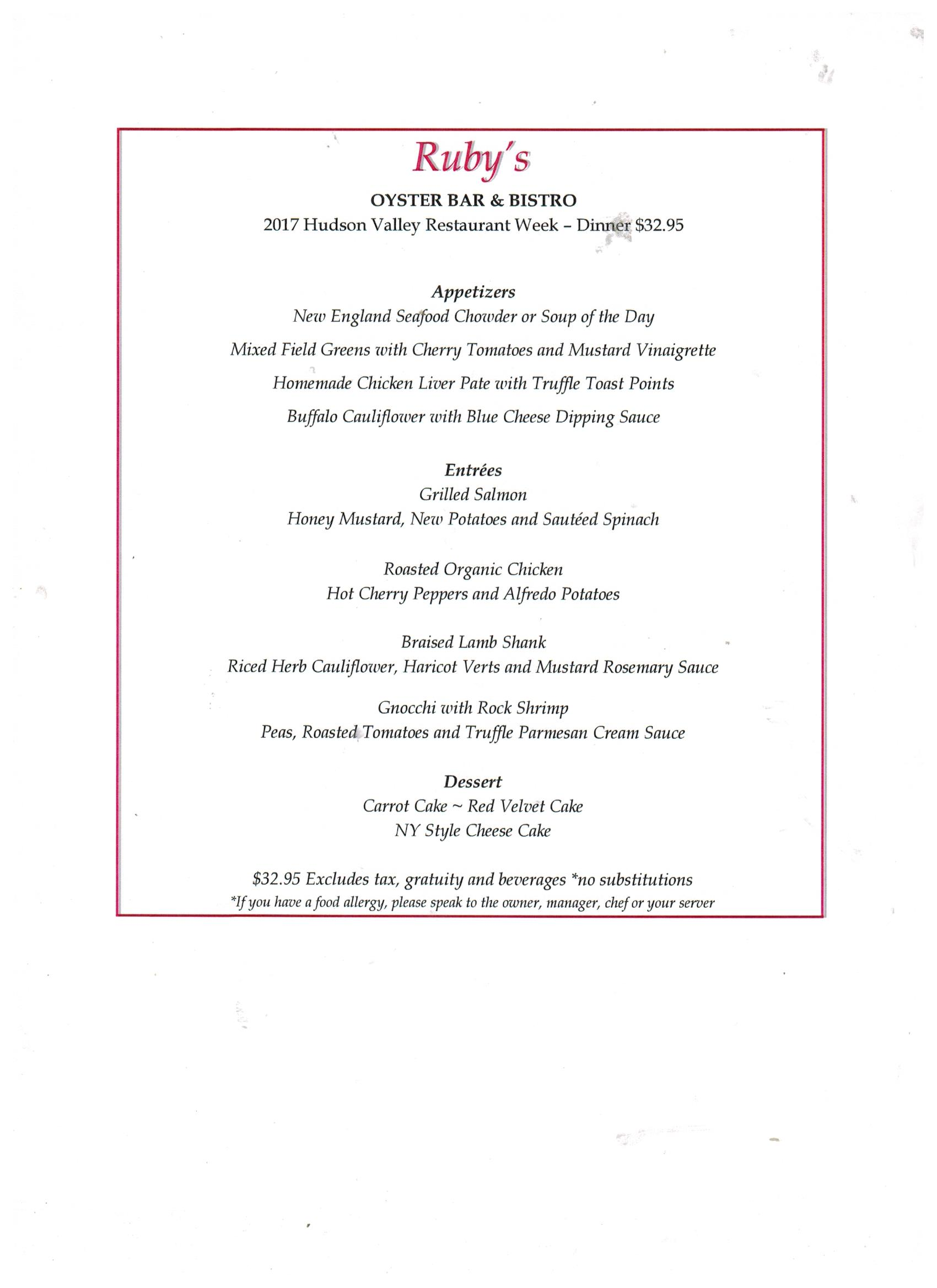 Hudson Valley Restaurant Week Ruby's Oyster Bar