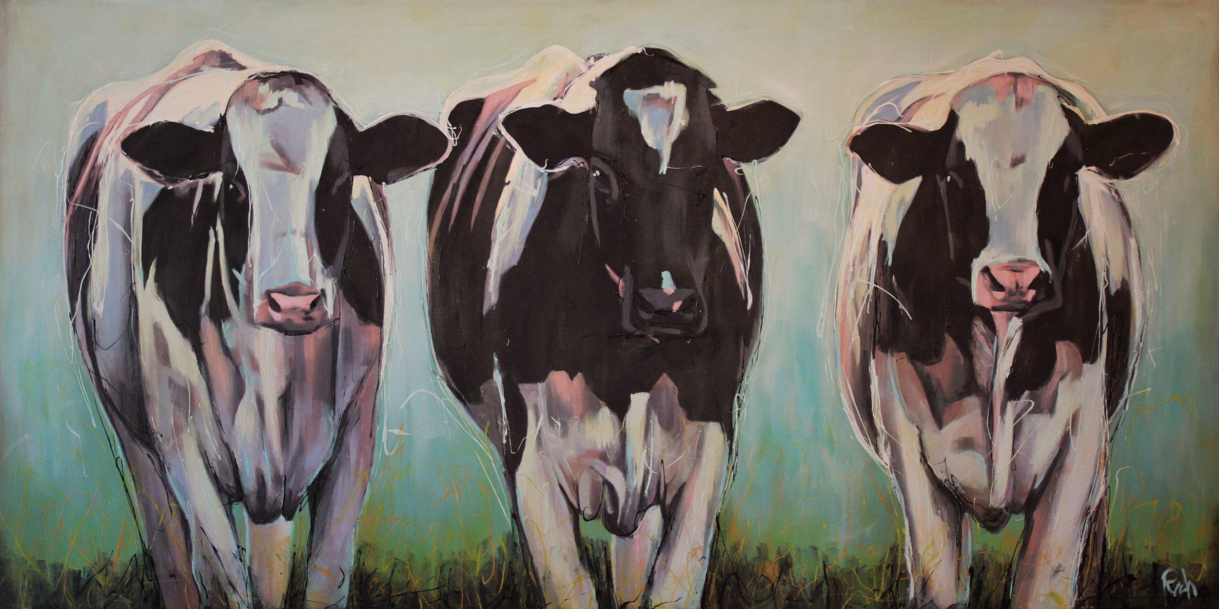 Triple Threat  Acrylic on canvas 72x36