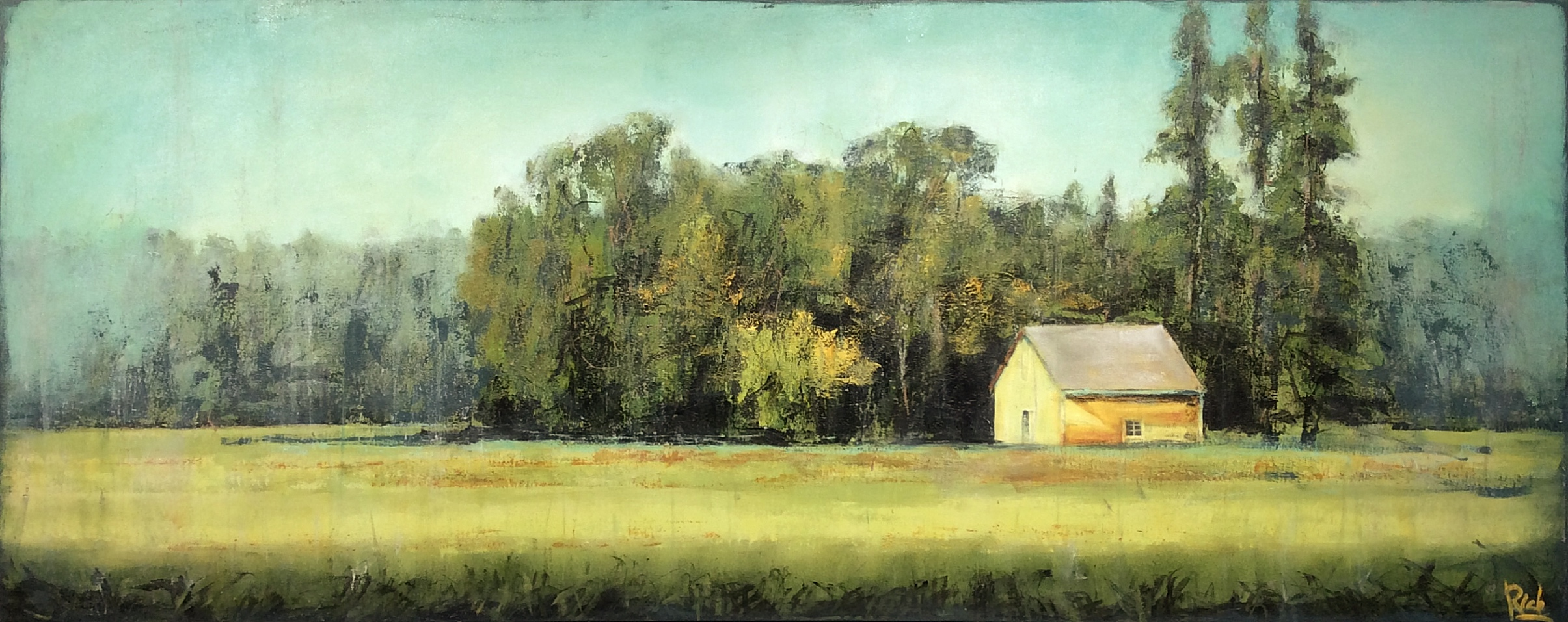 Little Yellow Barn  Acrylic on canvas 60x24