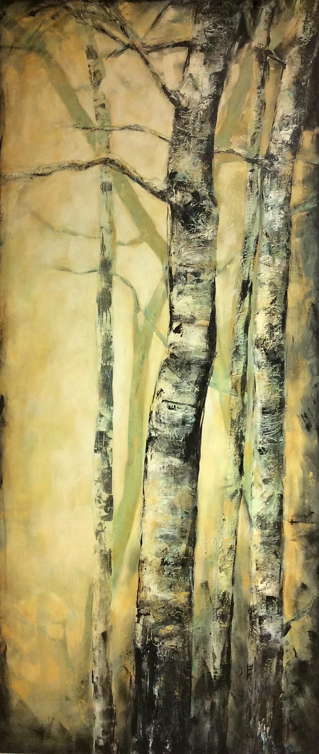 Tall Birch  Acrylic on canvas 36x84