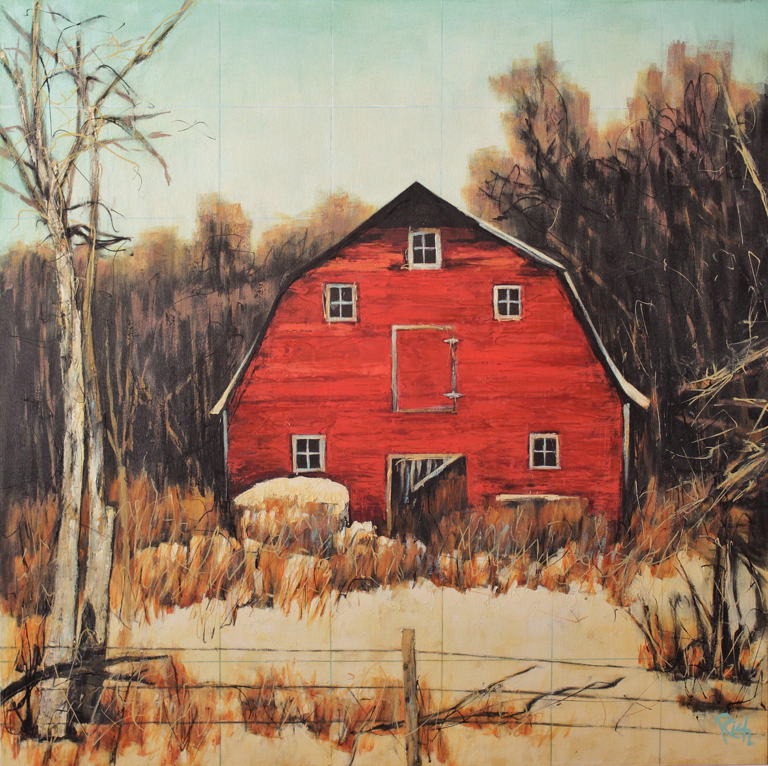 Barn and Fence  Acrylic on canvas 36x36