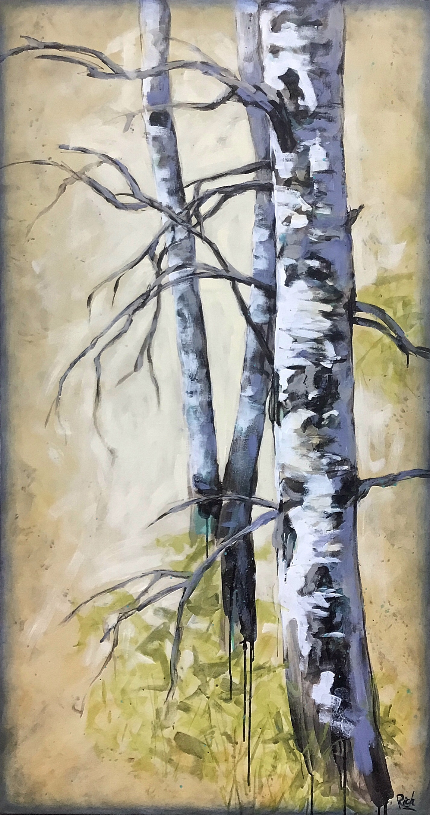 Birch Trio  Acrylic on canvas 30x72