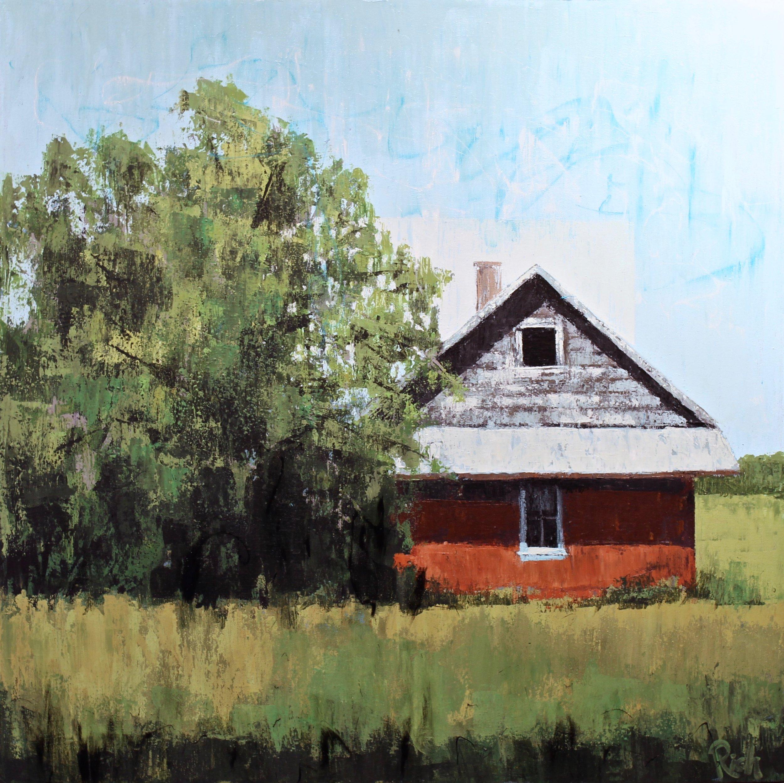 Red Prairie House  Acrylic on canvas 30x30
