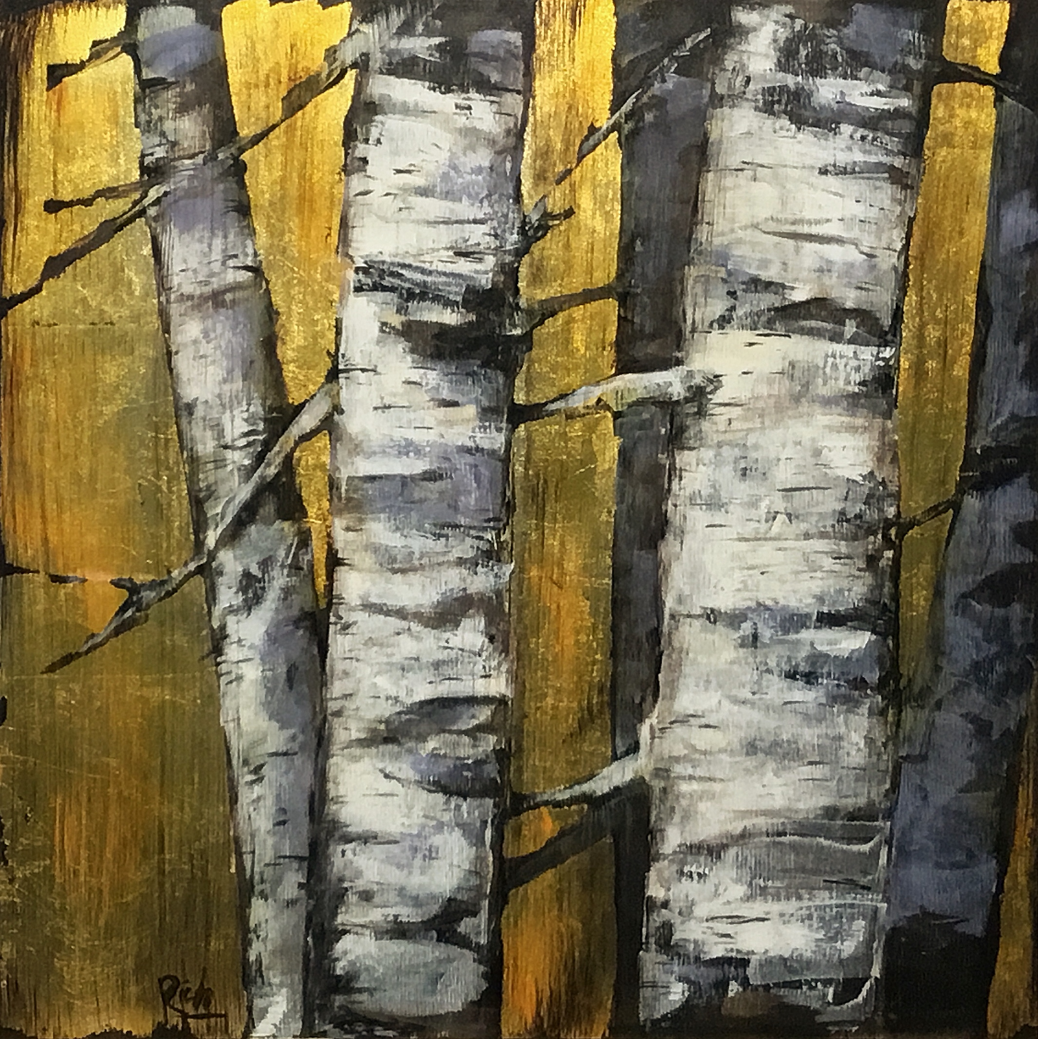 Birch detail  Acrylic and gold leaf on birch ply 15x15