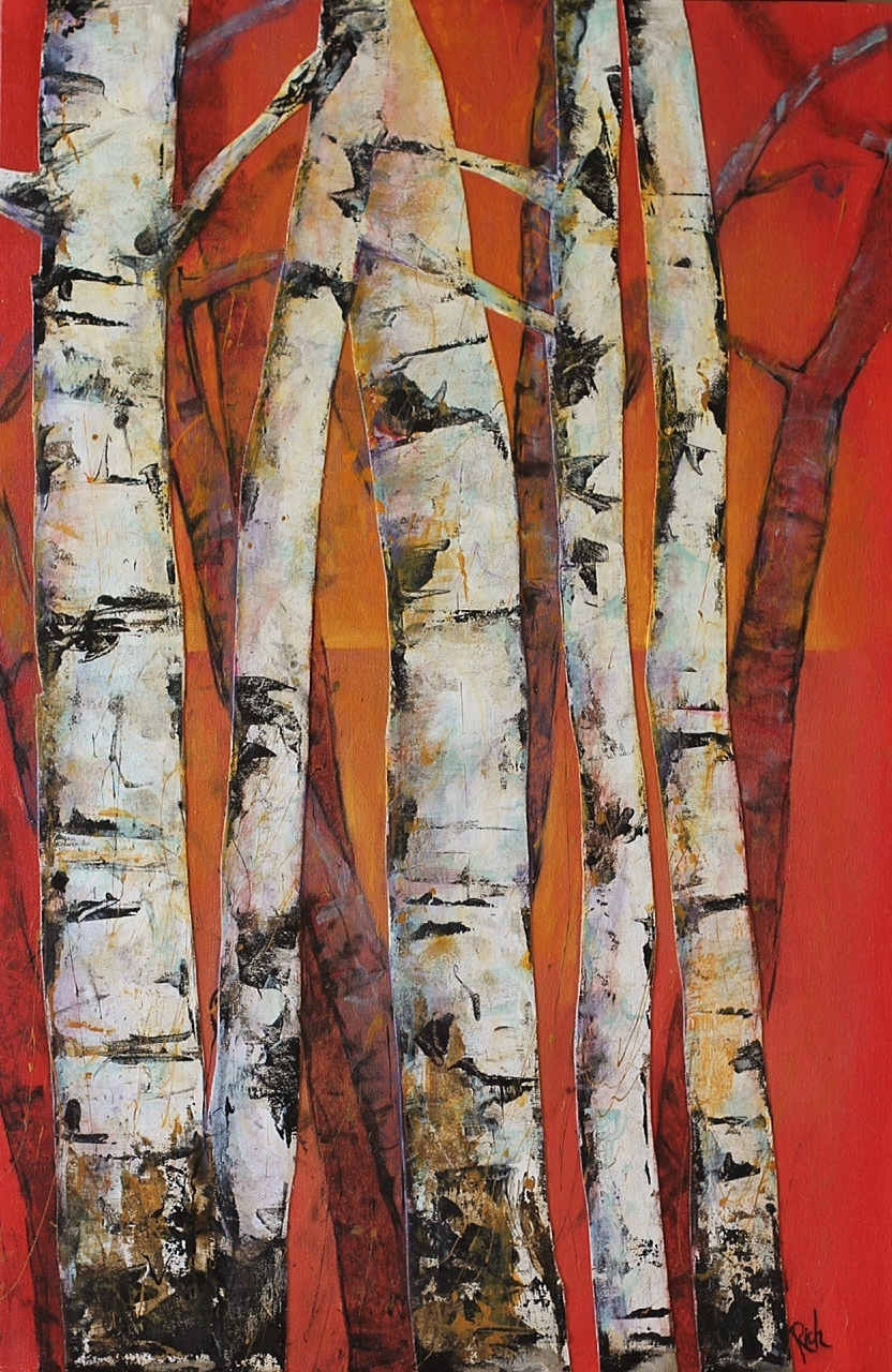 Birch on Red  Acrylic on canvas 24x36