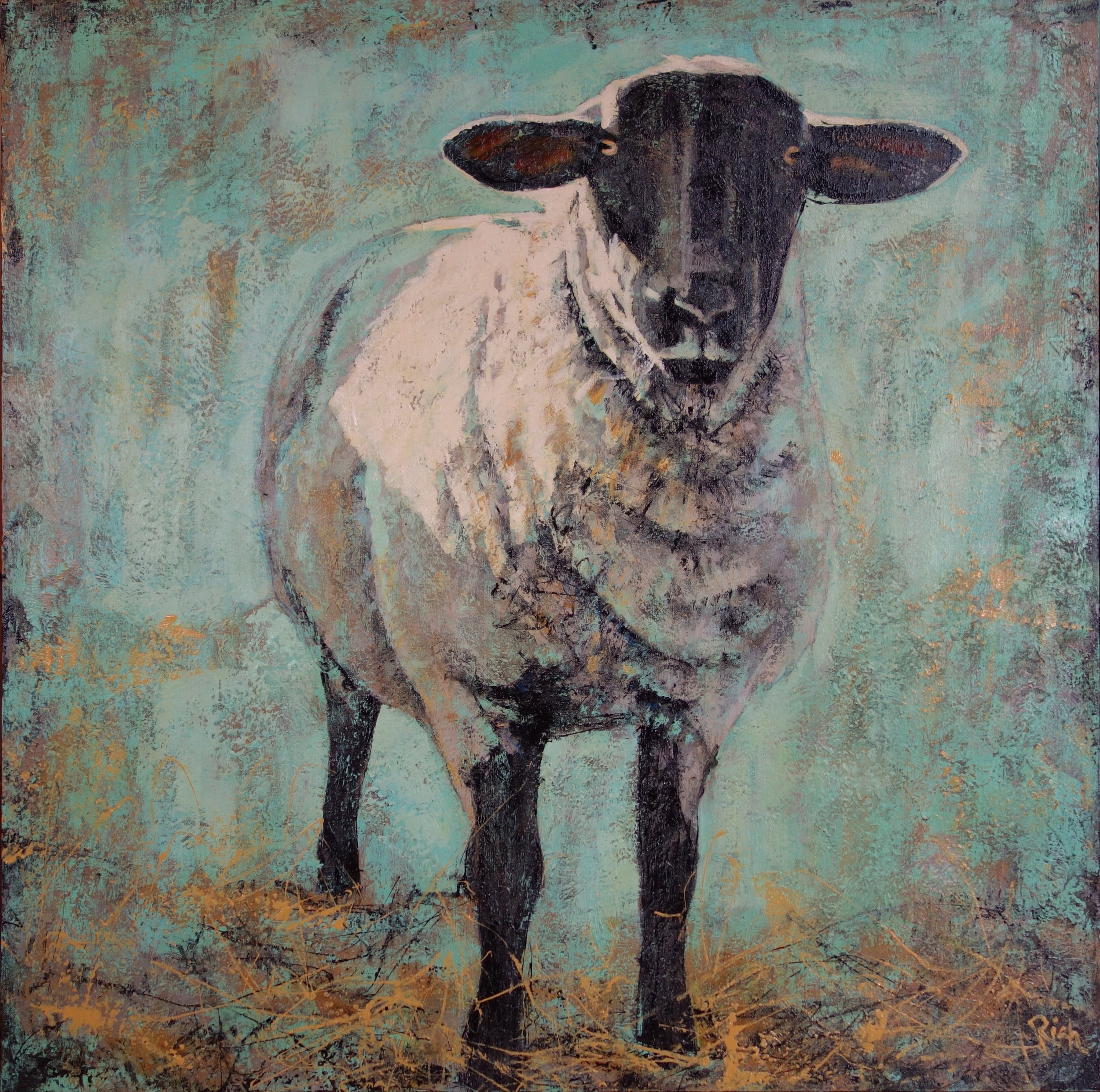 White Sheep on Turquiose  Acrylic on canvas 36x36