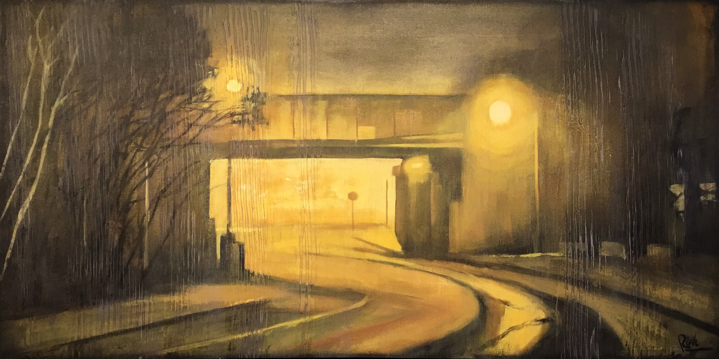 Misty underpass  Acrylic on canvas 48x24