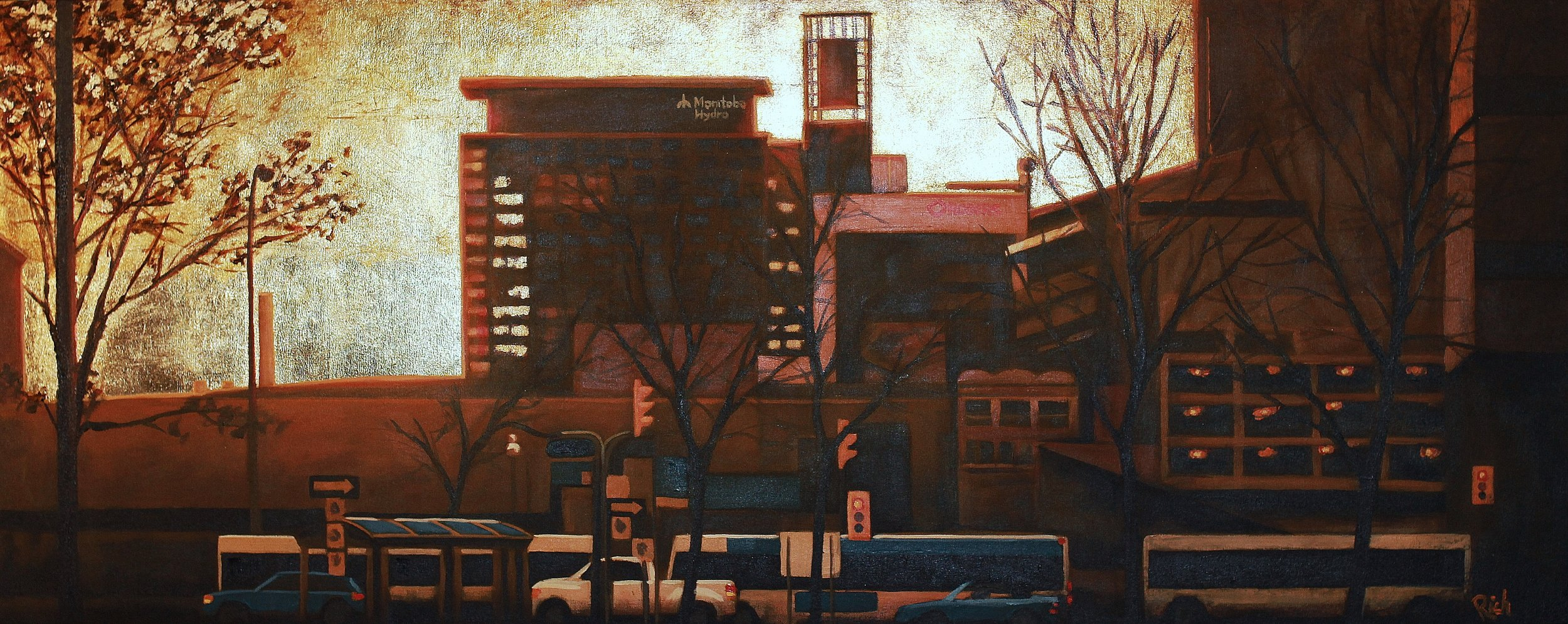 Urban silhouette  Acrylic and gold leaf on canvas 60x24
