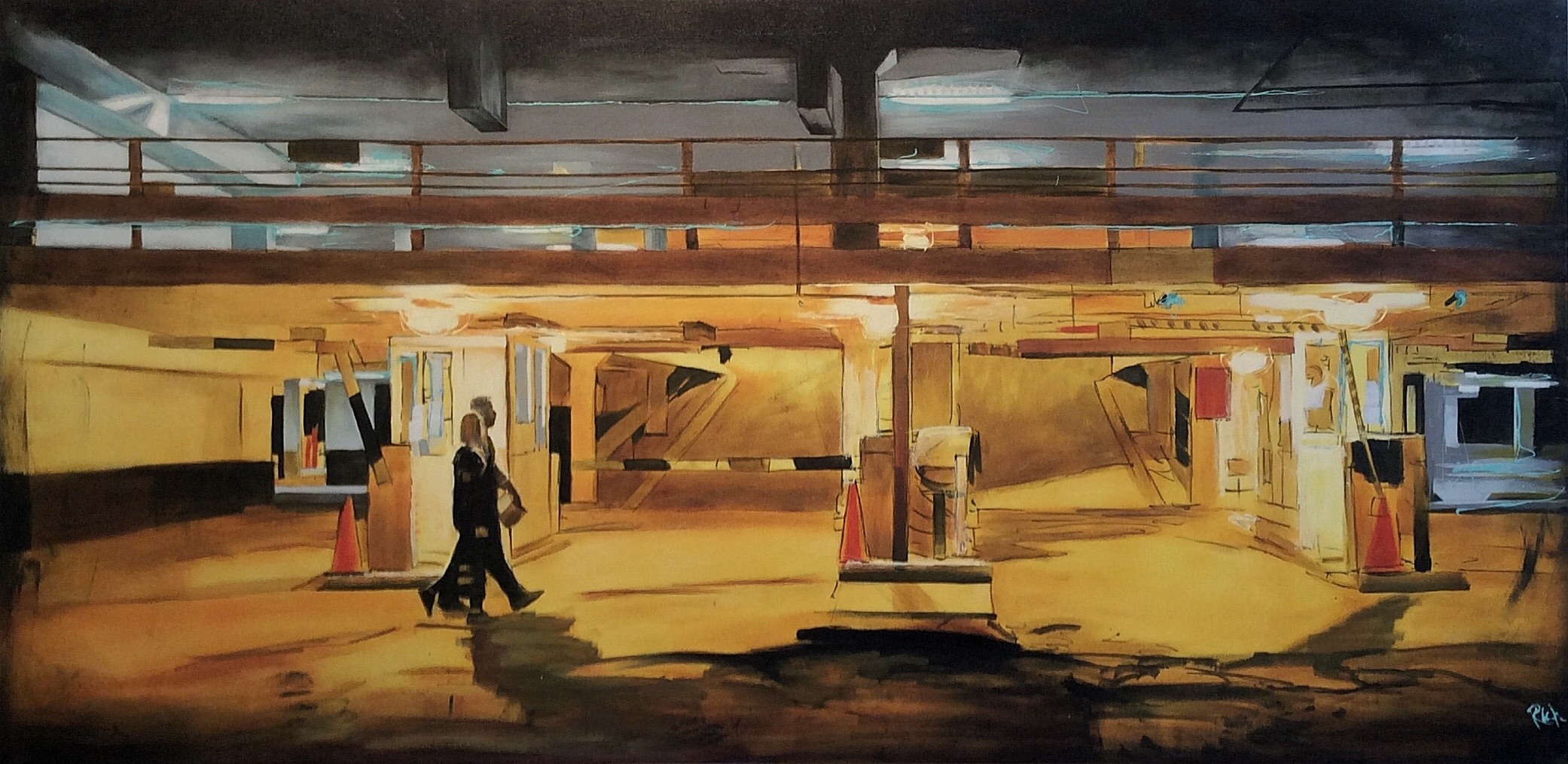 Warm glow/old parkade  Acrylic on canvas 60x30