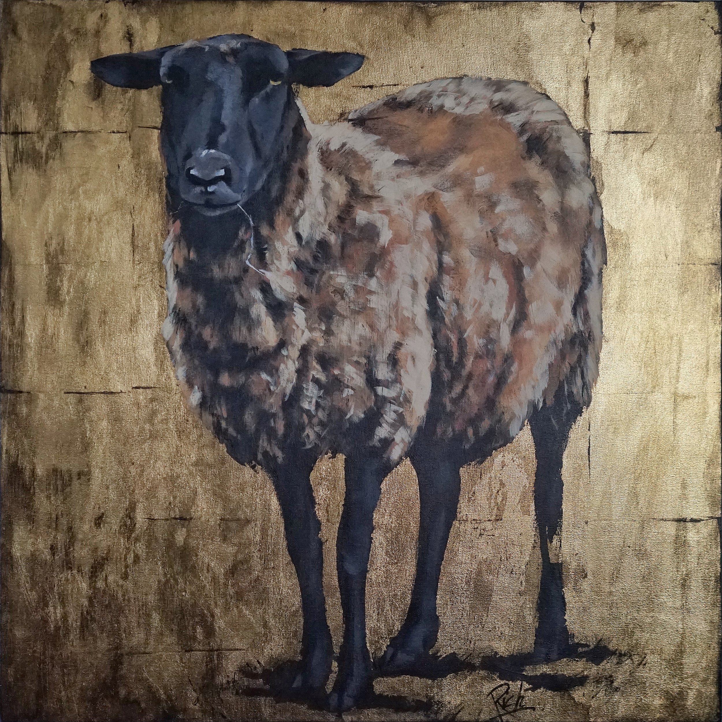 A little sheepish, again   Acrylic and gold leaf on canvas  30x30