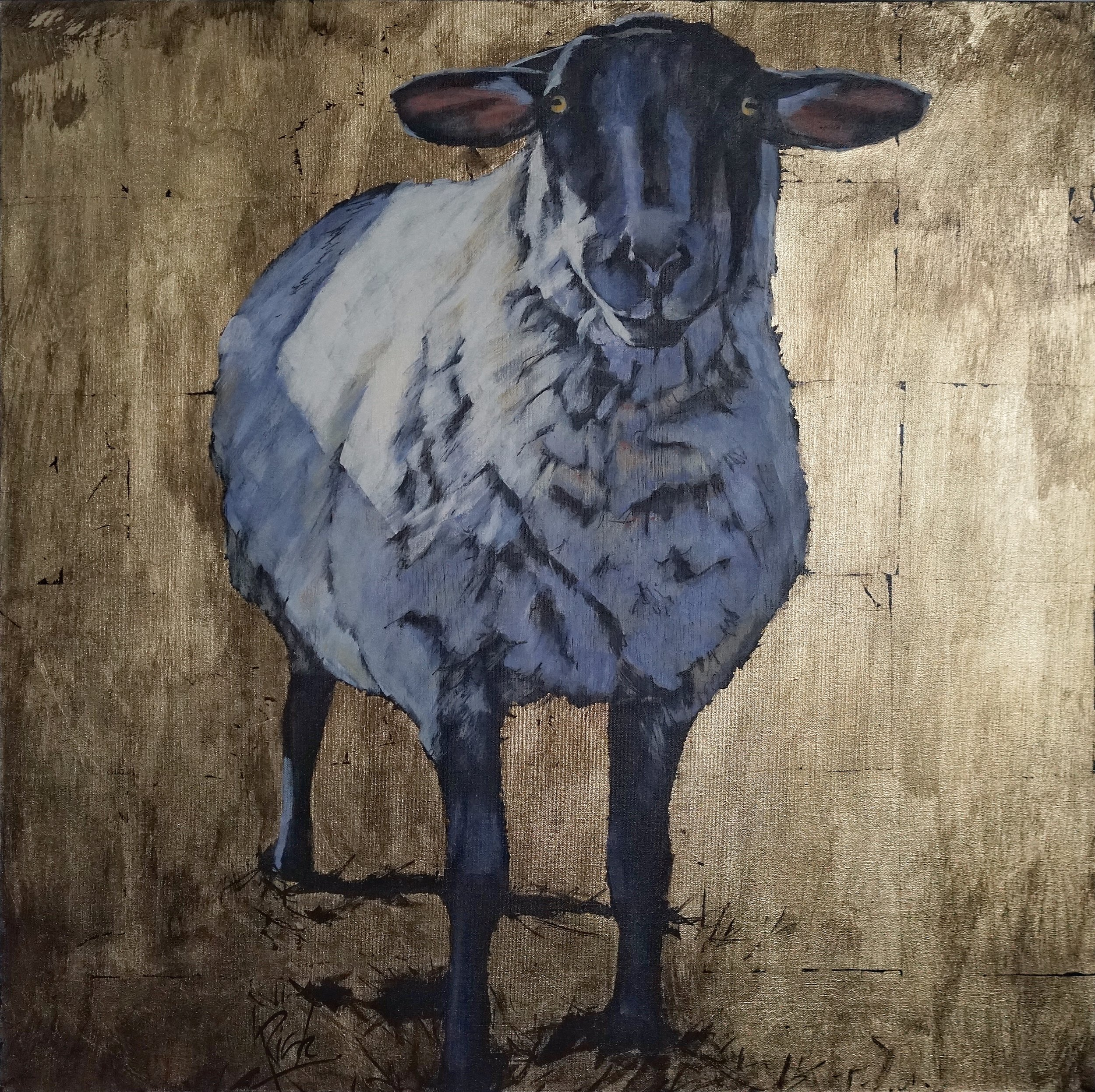 A little sheepish   Acrylic and gold leaf on canvas  30x30