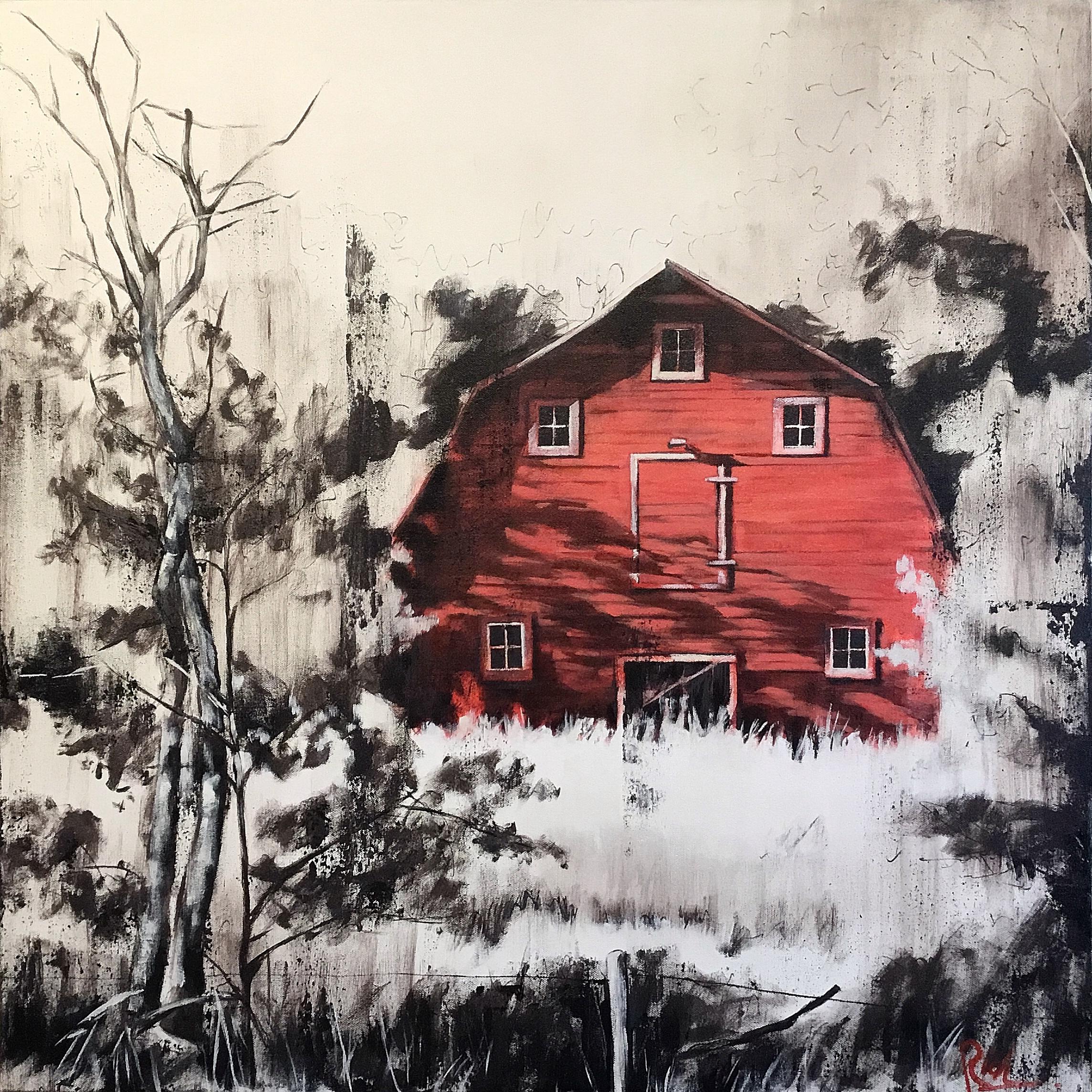 Red barn, minimal  Acrylic on canvas 30x30