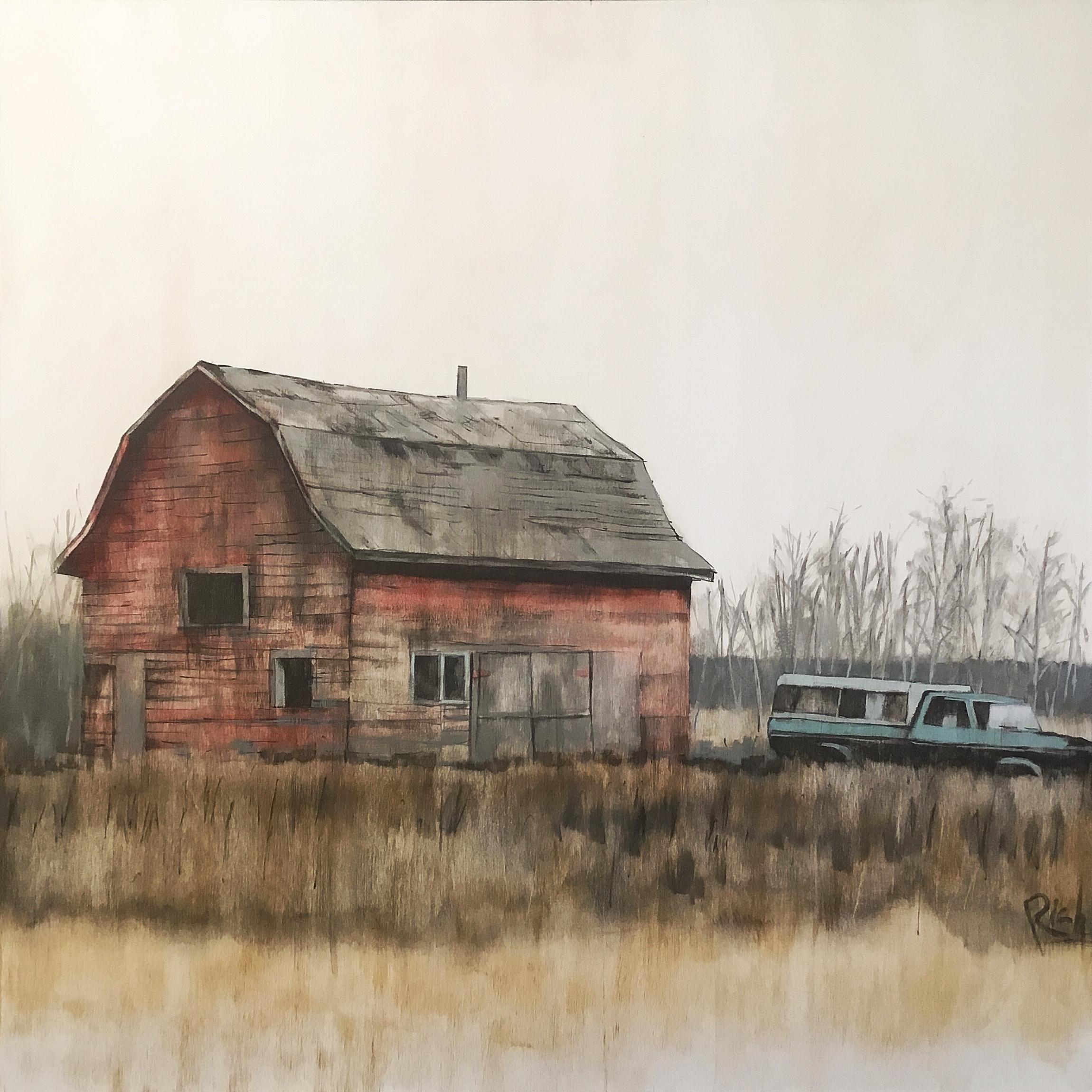 Barn on board  Acrylic on birch panel 30x30