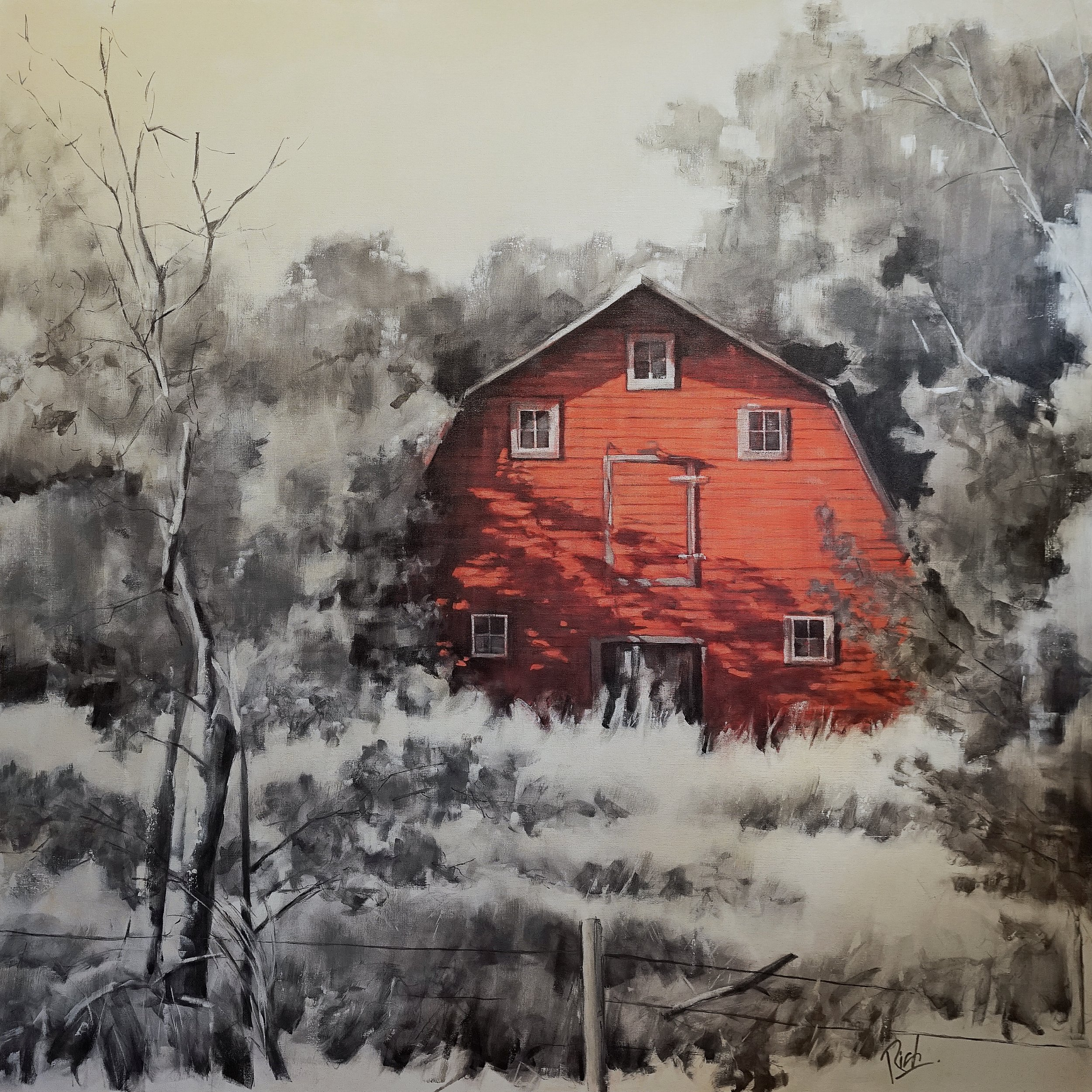 Red barn  Acrylic on canvas 54x54