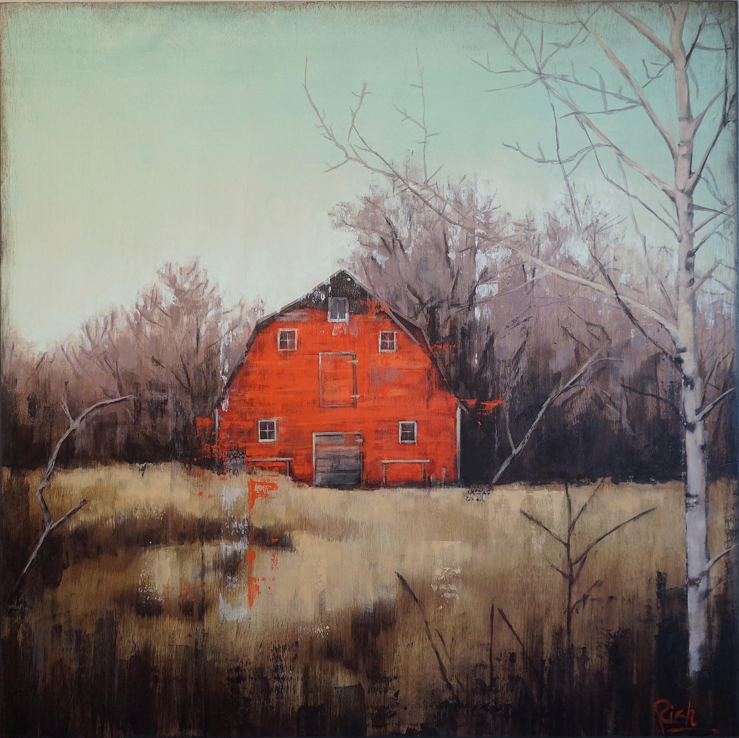 Autumn farm  Acrylic on birch panel 30x30