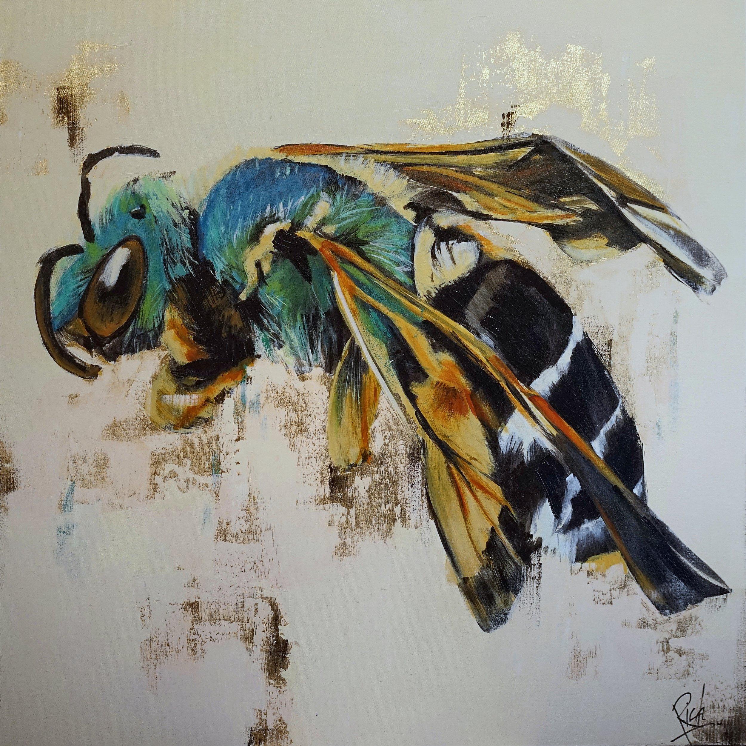 Acrylic with silver leaf on canvas 30x30
