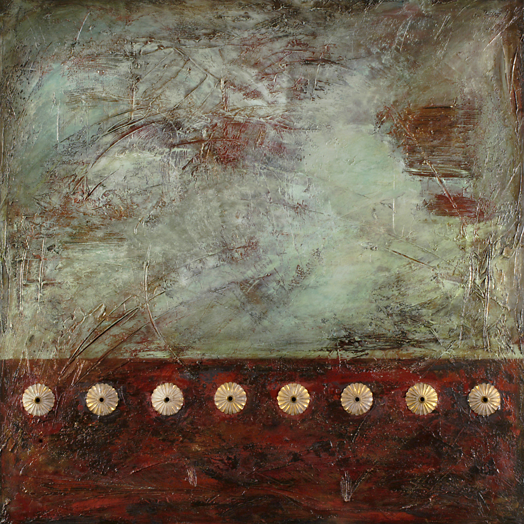 rogue one  48 x 48 x 1.5 inches  mixed media & brass on canvas  SOLD