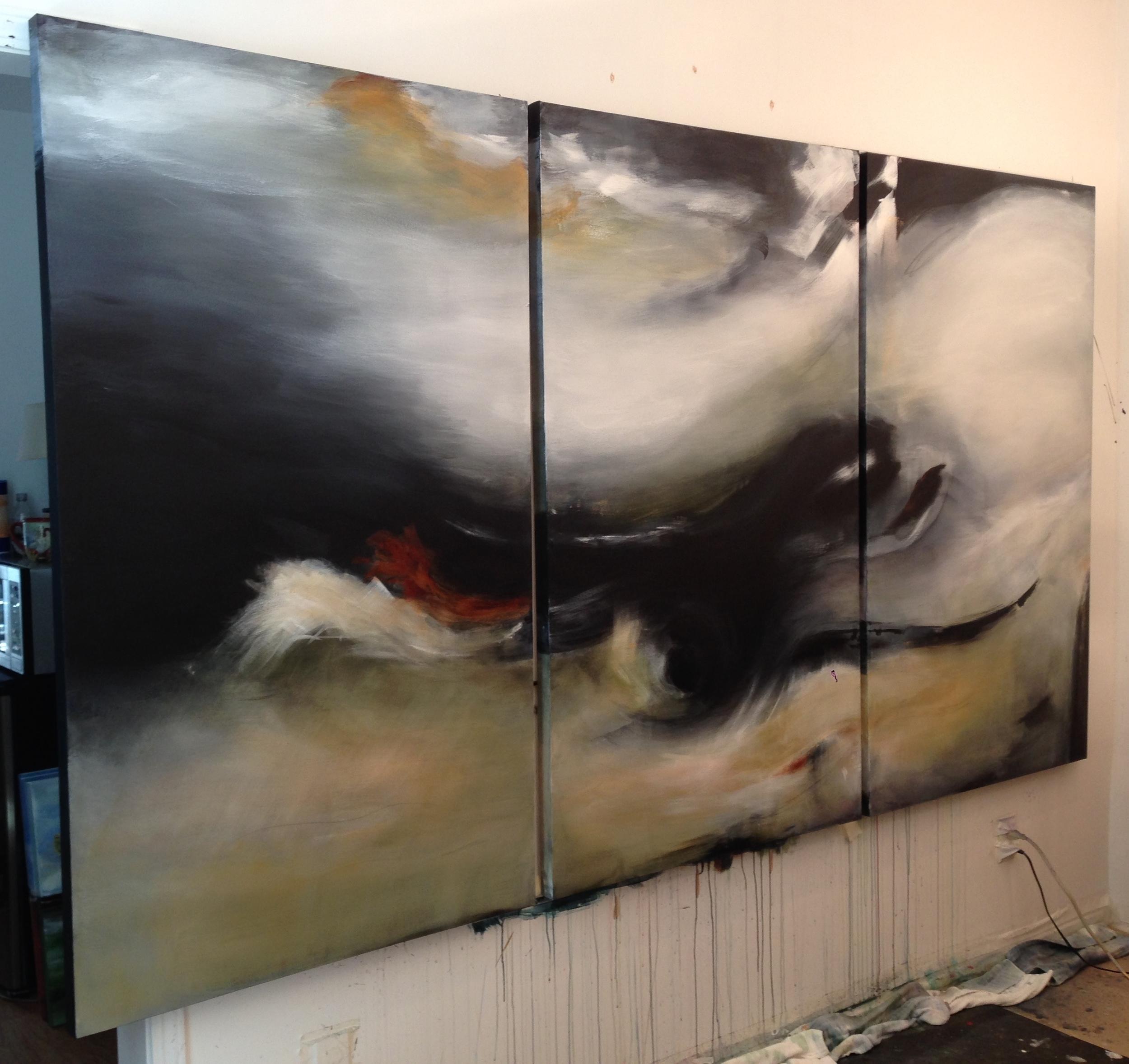 Rhapsody - studio in process  triptych 60 x 96 x 1.5 inches  Commission - Coronado CA