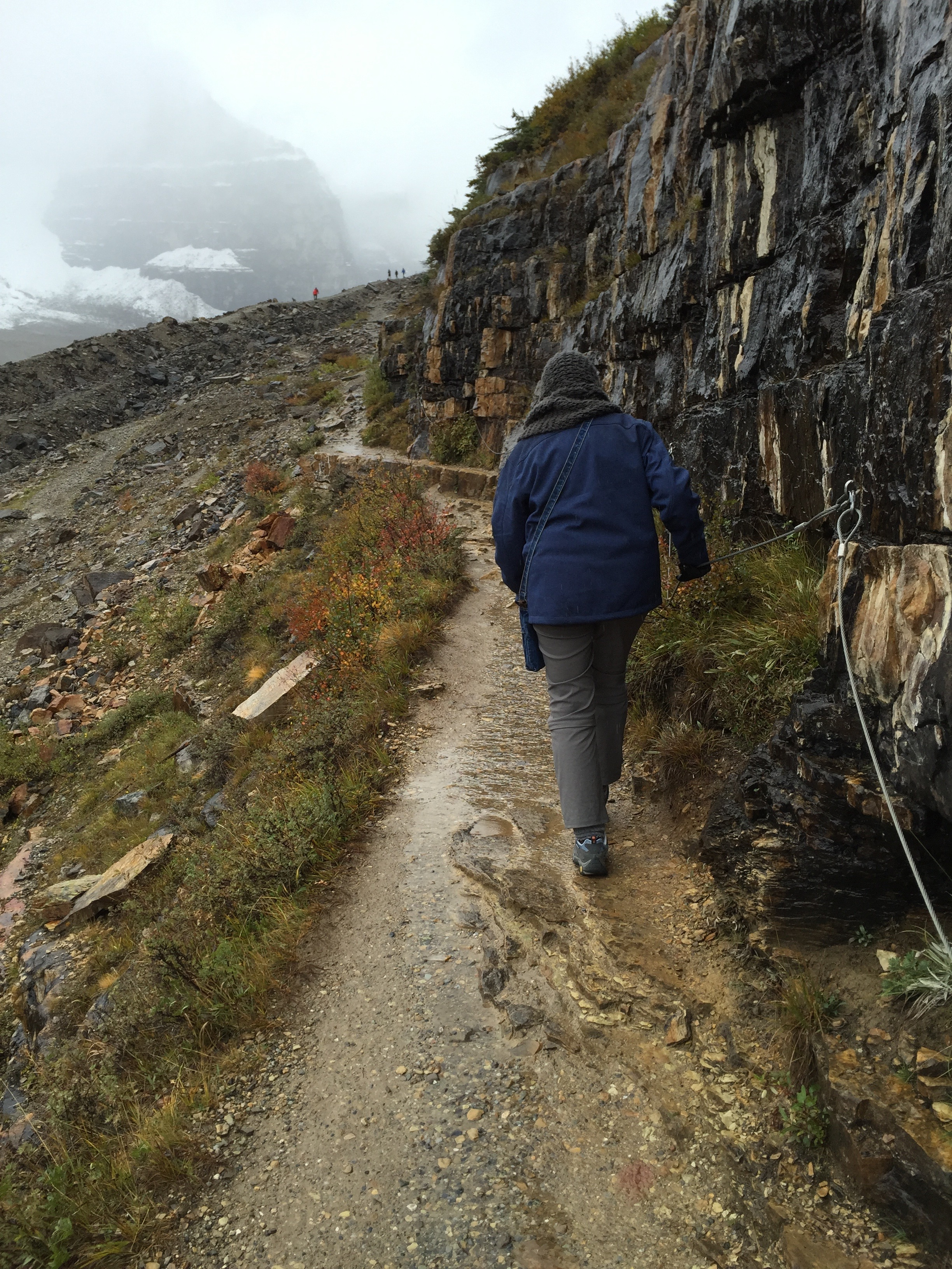The widest part of the ledge section on the Trail of Plain of Six Glaciers - Banff National Park - Alberta Canada