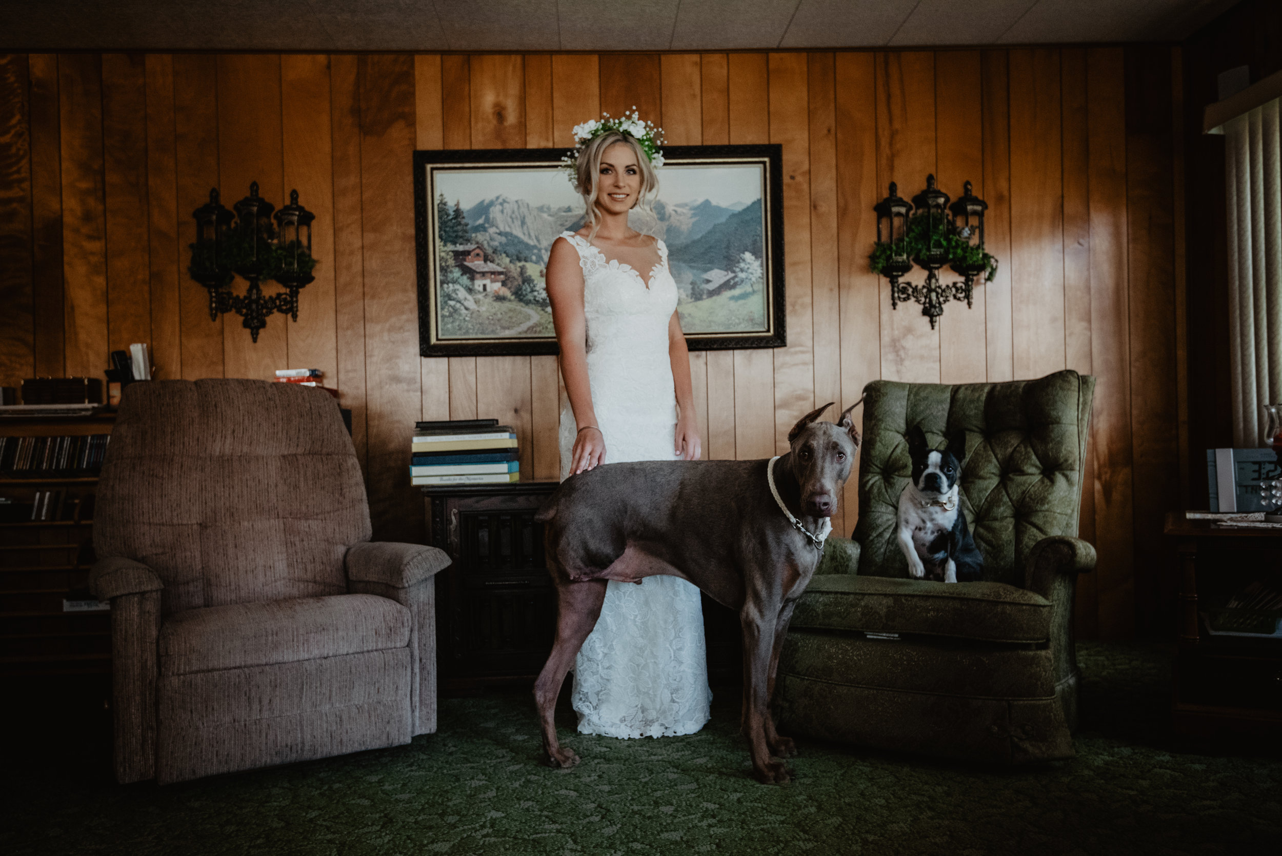 """A 2018 bride included her dogs in her wedding as the """"ring bearer"""" and """"flower girl"""" during the ceremony."""