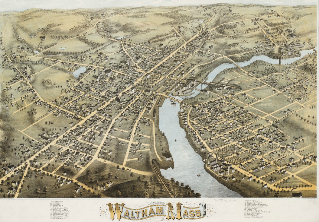 A map of the city of Waltham, MA circa 1877