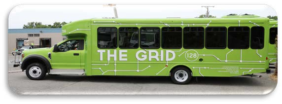 "This is the bus to look for - a green bus that says ""The Grid"""