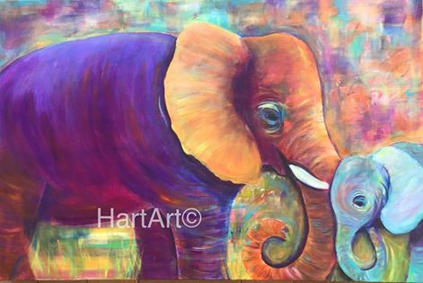 Finished painting  'Elephant Love' Acrylic on canvas. For sale at my studio