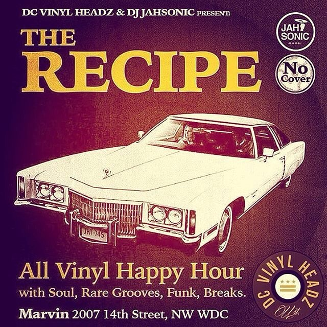 Today we have @djnategeezie and @djdcinfamous on the turntables! The Recipe every Monday 6-9 at @restaurantmarvin #dc #washingtondc #dcvinylheadz #dcnightlife