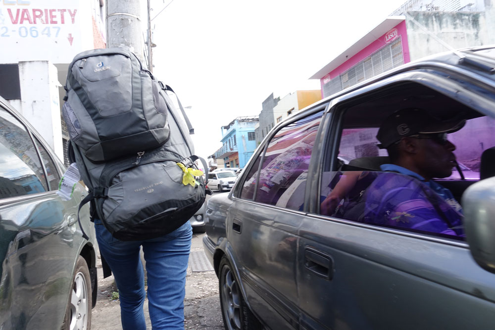 Manouvering the Mobay Streets with everything we need on our 5 week journey. And always paying attention to traffic!