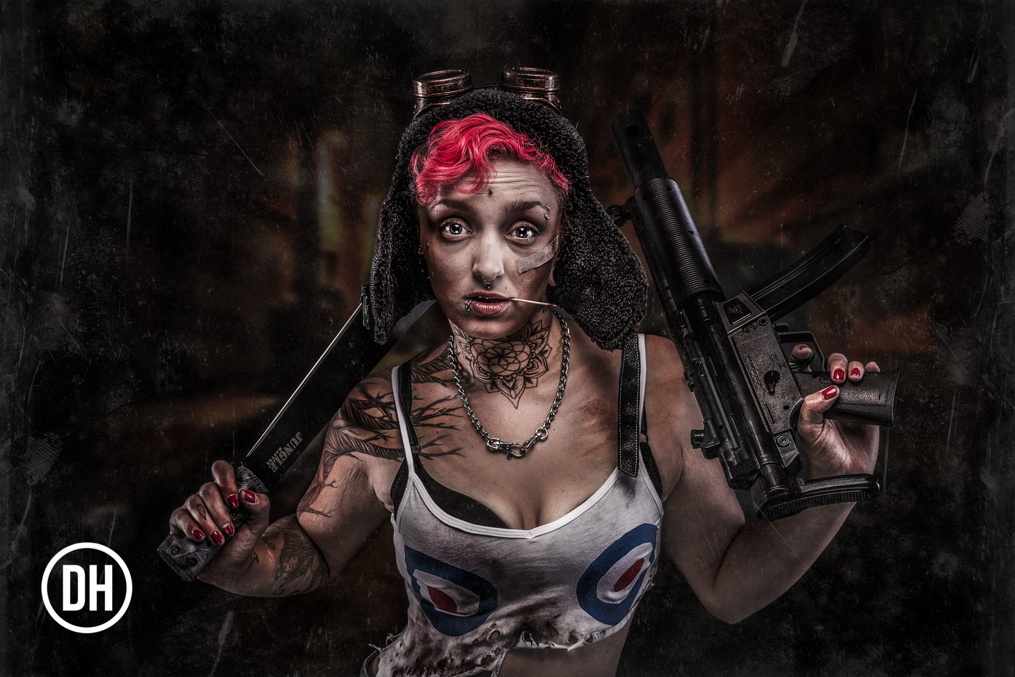 "Dark graphic novel images from the ""tank Girl"" series."