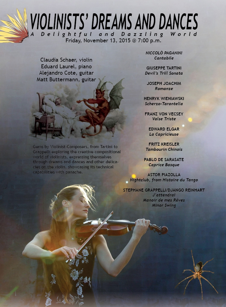 "Poster for ""Violinists' Dreams and Dances"" concert at the Bloomingdale School of Music, 2015.11.13"